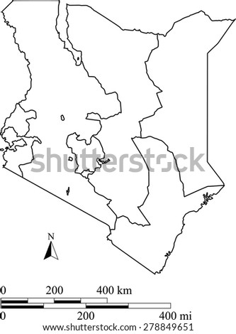 Vector map of Kenya with mileage and kilometer scales and boundaries/polygons of districts or provinces or states, Kenya map outlines with scales for science and publication uses - stock vector