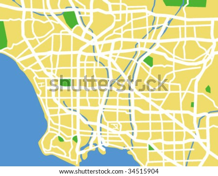 vector map of Los Angeles. - stock vector