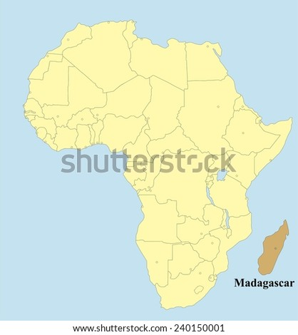 Vector map of Madagascar in Africa - stock vector