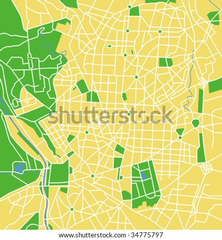 Vector map of Madrid. - stock vector