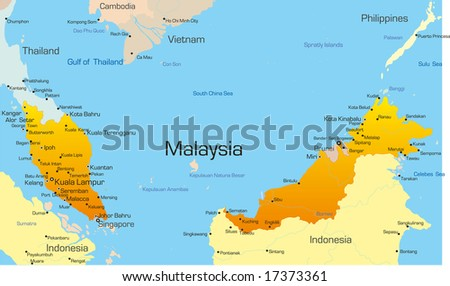 Vector map of Malaysia country - stock vector