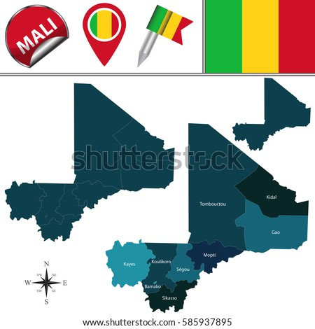 Vector map of Mali with named regions and travel icons