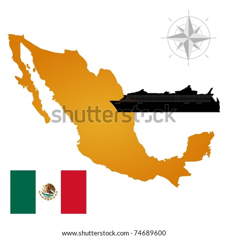 Vector map of  Mexico  with a silhouette of the ship and the flag
