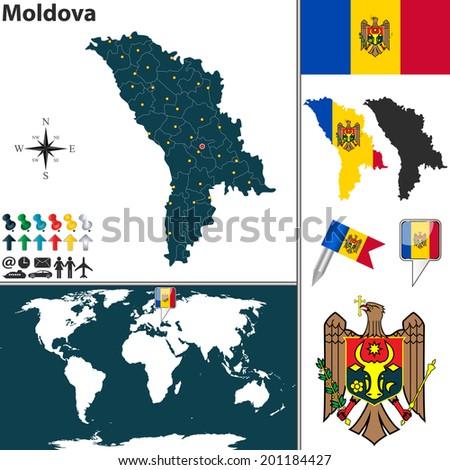 Vector Map Moldova Regions Coat Arms Stock Photo Photo Vector