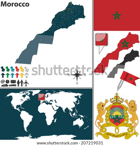 Vector map morocco regions coat arms stock vector 207219031 vector map of morocco with regions coat of arms and location on world map sciox Gallery