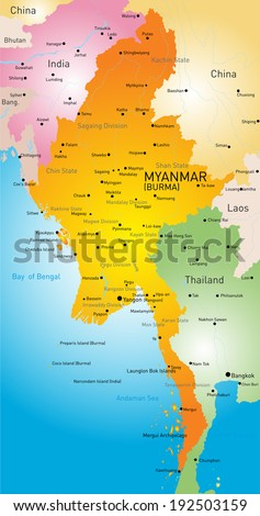 Vector map of Myanmar country - stock vector