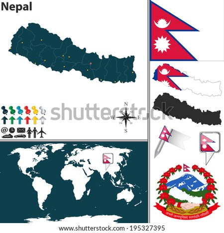 Vector map of Nepal with regions, coat of arms and location on world map
