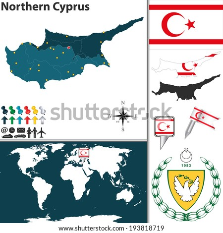 Vector map of Northern Cyprus with regions, coat of arms and location on world map - stock vector