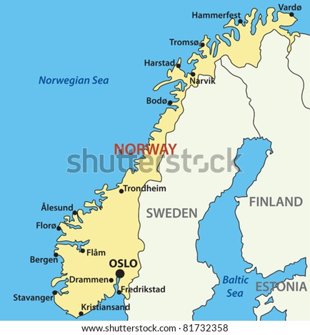 vector map of Norway - stock vector