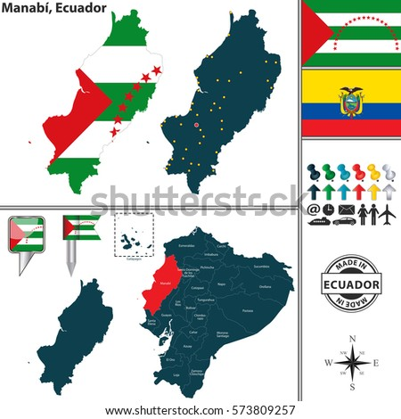 Vector Map Province Manabi Flags Location Stock Vector 573809257