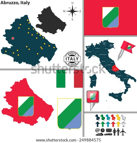 Vector map of region Abruzzo with coat of arms and location on Italy map