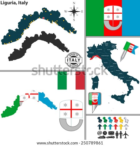 Vector map of region Liguria with coat of arms and location on Italy map