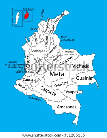Vector map of region of Archipelago of San Andres, Providencia and Santa Catalina, Colombia editable vector map.  Administrative divisions of Colombia editable map. - stock vector