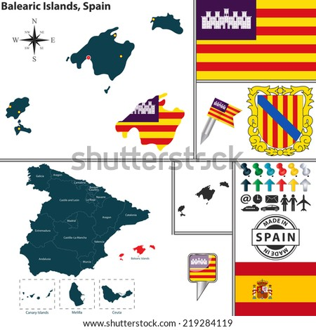 Vector map of region of Balearic Islands with coat of arms and location on Spanish map - stock vector