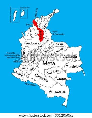 Vector map of region of Bolivar, Colombia editable vector map.  Administrative divisions of Colombia editable map. - stock vector