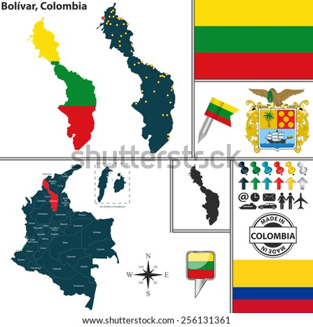 Vector map of region of Bolivar with coat of arms and location on Colombian map - stock vector