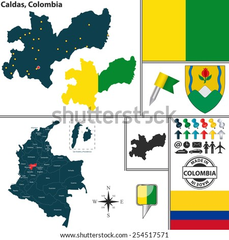 Vector map of region of Caldas with coat of arms and location on Colombian map - stock vector
