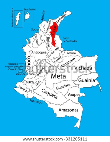 Vector map of region of Cesar, Colombia editable vector map.  Administrative divisions of Colombia editable map. - stock vector