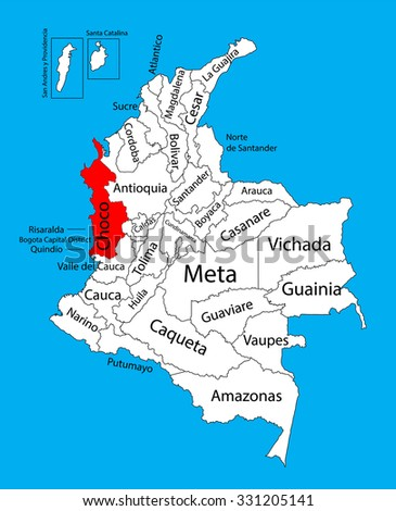 Vector map of region of Choco, Colombia editable vector map.  Administrative divisions of Colombia editable map. - stock vector