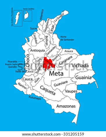 Vector map of region of Cundinamarca, Colombia editable vector map.  Administrative divisions of Colombia editable map. - stock vector