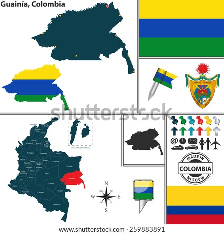 Vector map of region of Guainia with coat of arms and location on Colombian map - stock vector