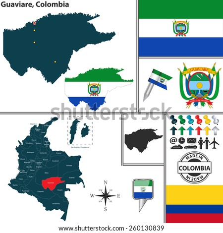 Vector map of region of Guaviare with coat of arms and location on Colombian map - stock vector