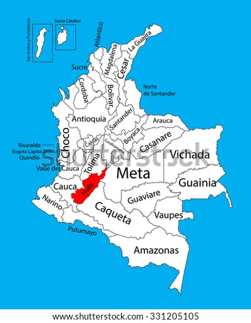 Vector map of region of Huila, Colombia editable vector map.  Administrative divisions of Colombia editable map. - stock vector