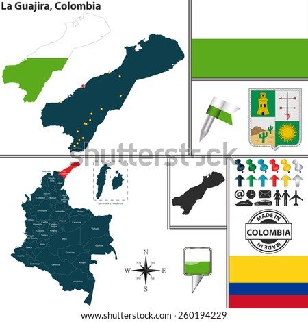 Vector map of region of La Guajira with coat of arms and location on Colombian map - stock vector