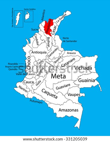 Vector map of region of Magdalena, Colombia editable vector map.   Administrative divisions of Colombia editable map. - stock vector