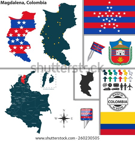 Vector map of region of Magdalena with coat of arms and location on Colombian map - stock vector