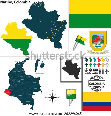 Vector map of region of Narino with coat of arms and location on Colombian map - stock vector