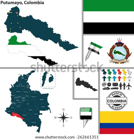 Vector map of region of Putumayo with coat of arms and location on Colombian map - stock vector