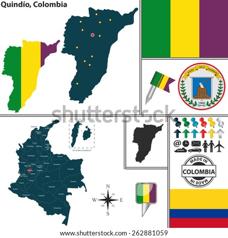 Vector map of region of Quindio with coat of arms and location on Colombian map - stock vector
