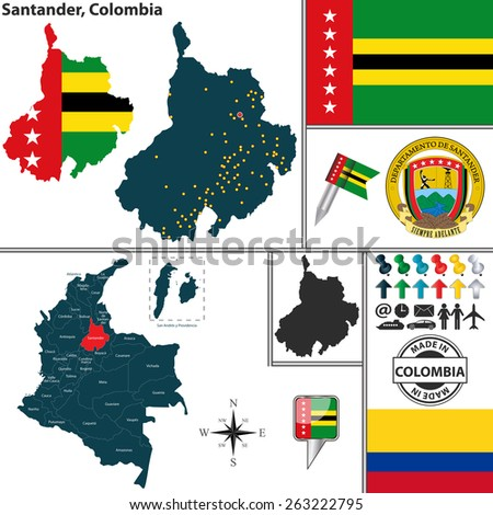 Vector map of region of Santander with coat of arms and location on Colombian map - stock vector