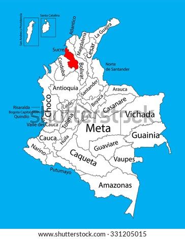 Vector map of region of Sucre, Colombia editable vector map.  Administrative divisions of Colombia editable map. - stock vector