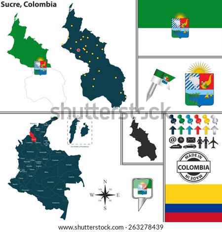 Vector map of region of Sucre with coat of arms and location on Colombian map - stock vector