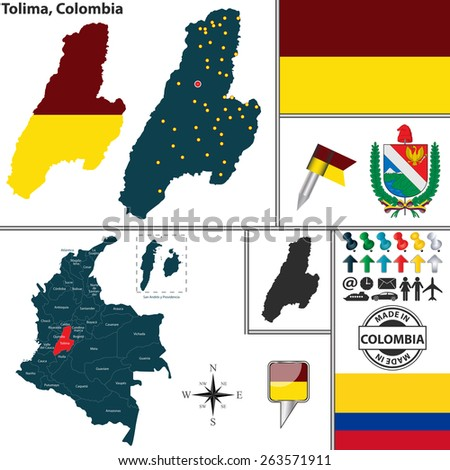 Vector map of region of Tolima with coat of arms and location on Colombian map - stock vector