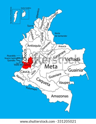 Vector map of region of Valle del Cauca, Colombia editable vector map.  Administrative divisions of Colombia editable map. - stock vector