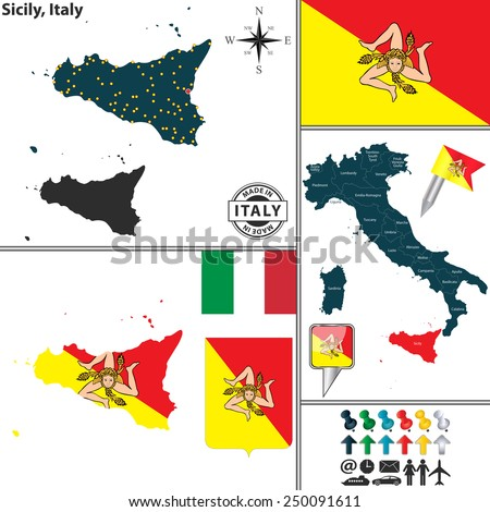 Vector map of region Sicily with coat of arms and location on Italy map - stock vector