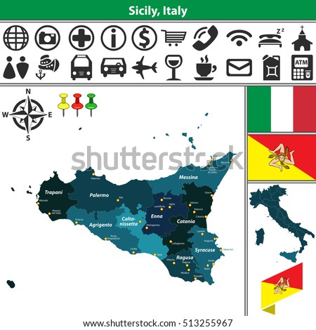 Vector Map Region Sicily Regions Location Stock Vector 513255967