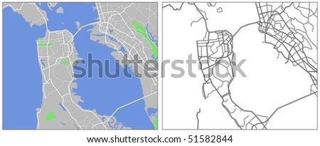 vector map of San Francisco - stock vector