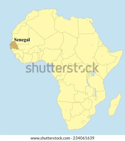 Vector map of Senegal in Africa - stock vector