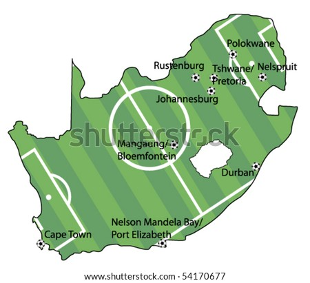 vector map of south africa with football field concept - stock vector