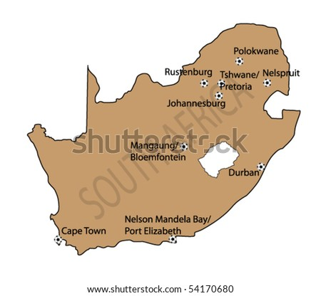 vector map of south africa with football stadium - stock vector