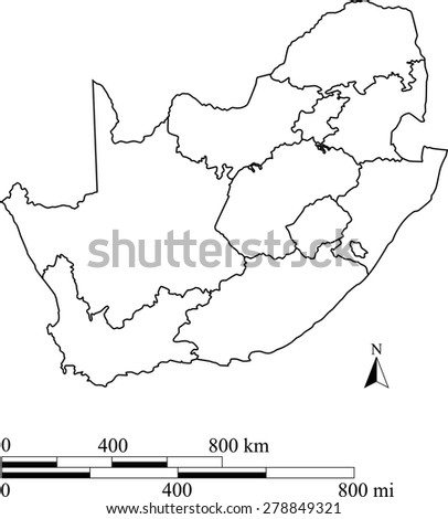 Map South Africa Provinces Outline Vector Map of South Africa