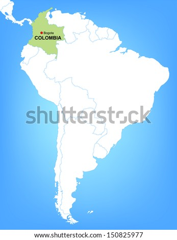 Vector Map Of South America Highlighting The Country Of Colombia