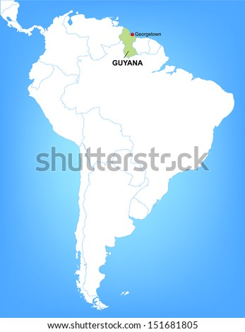 Vector Map of South America Highlighting the Country of Guyana; Illustrator 8