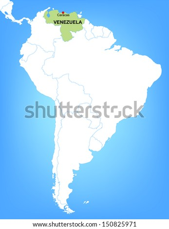 Vector Map of South America Highlighting the Country of Venezuela - stock vector