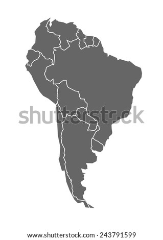 Vector map of South America in grey with states and borders - stock vector