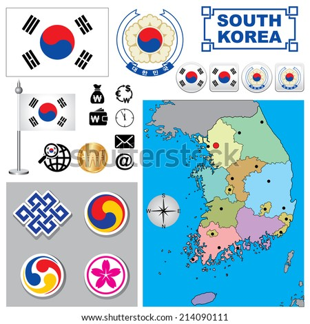 Vector map of South Korea  with a set of signs and symbols - stock vector